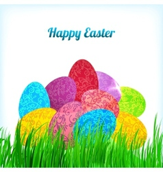 Easter background with ornament eggs on grass vector