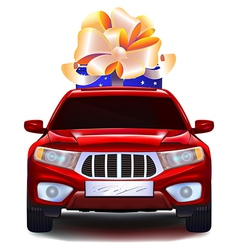 Auto with a gift in the trunk vector