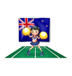 A cute cheerdancer in front of the New Zealand vector image