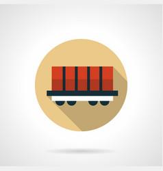 Rail boxcar beige round icon vector