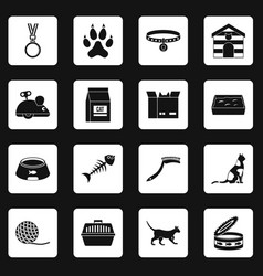 cat care tools icons set squares vector image