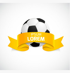 Soccer ball with orange ribbon vector image