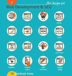 Business icon set software and web development seo vector