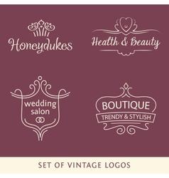 Vintage logo set line vector image