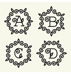 Monogram style linear with the letters a b c d vector