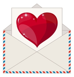 Envelope with a letter in the form of valentines vector