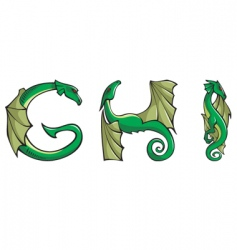 dragons Alphabet ghi vector image