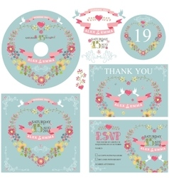 Cute wedding template set with floral wreath vector