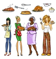 Pretty housewifes with meals vector