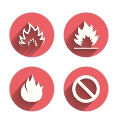 Fire flame icons prohibition stop symbol vector