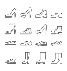 Shoes icons line style flat design vector
