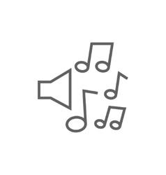 Loudspeakers with music notes line icon vector