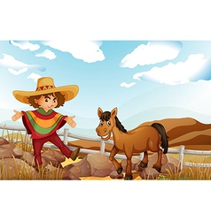 A man and a horse near the rocks vector image