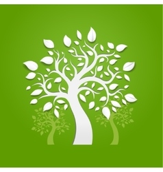 Abstract trees on green background vector image