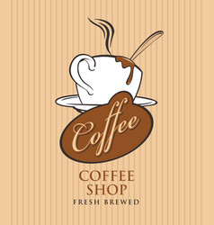 banner for coffee shop with cup of coffee vector image