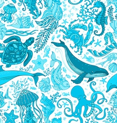 Blue underwater sea life boundless background vector