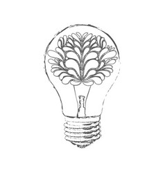 Bulb with brain inside icon vector