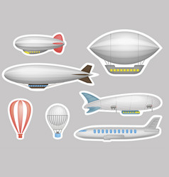 Cartoon balloons airships and airplanes vector