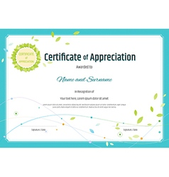 Certificate of appreciation template nature theme vector