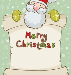 Christmas card with cute Santa and scroll vector image vector image