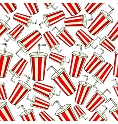 Classic red coke paper cup seamless background vector