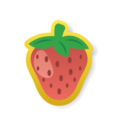 colorful red strawberry sticker vector image vector image