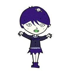 Comic cartoon waving vampire girl vector
