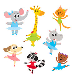 Cute little animal characters ballet dancers in vector