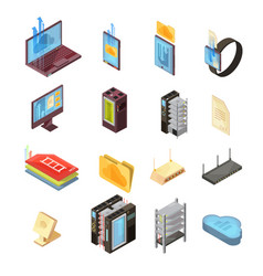 data cloud isometric set vector image vector image