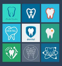 Dental logo set dental icon collection vector