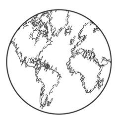 Earth globe sketch style icon vector