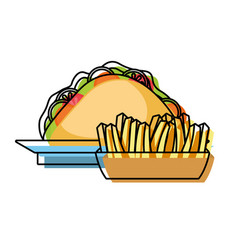 French fries and sandwich vector