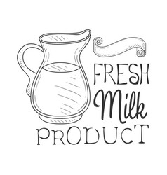 Fresh milk product promo sign in sketch style with vector