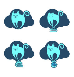 funny flying cat on the cloud vector image