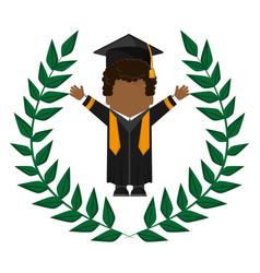 Graduate student gown hat funny emblem vector