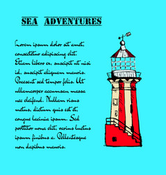 Hand drawn vintage lighthouse vector