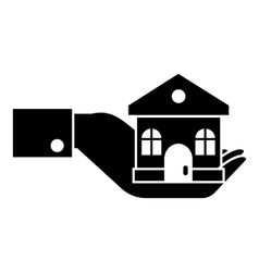 Hand holding house icon simple style vector image