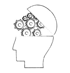 Head human gear wheel engineer sketch vector
