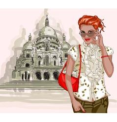 Lady sightseeing at the taj mahal vector