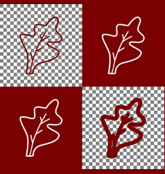 Lettuce leave sign bordo and white icons vector