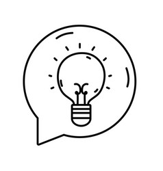 Line bulb idea inside chat bubble message vector