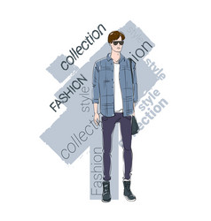 Male model wear fashion clothes collection vector