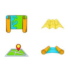 map icon set cartoon style vector image