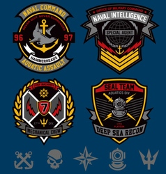 Navy military patch emblem set vector image vector image