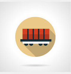 rail boxcar beige round icon vector image