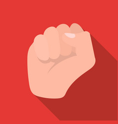 Raised fist icon in flat style isolated on white vector