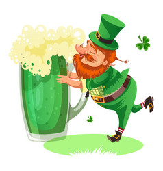 saint patrick day leprechaun with mug of green vector image