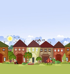 seamless border with cute houses and trees for you vector image vector image