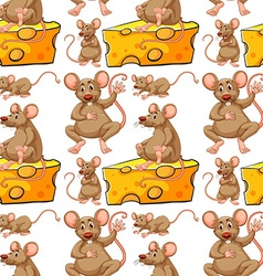 Seamless mouse and cheese slice vector image vector image