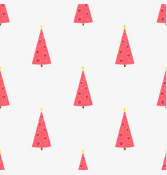 seamless pattern with hand-drawn christmas trees vector image